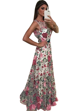 Ericdress Floral Print Backless Embroidery Maxi Dress
