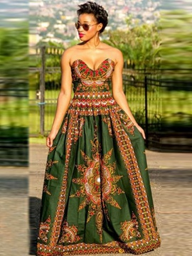 Ericdress African Print Strapless Floor-Length Maxi Dress