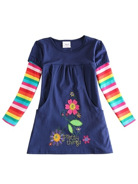 Ericdress Colorful Stripe Flower Print Patchwork Girl's Dress