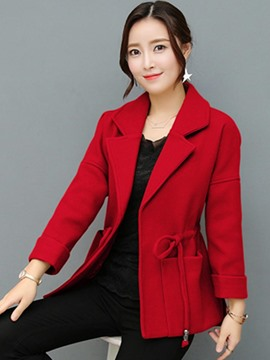 Ericdress Plain Notched Lapel Lace-Up Coat