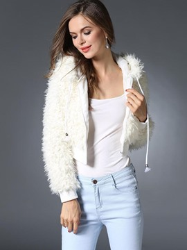 Ericdress Plain Faux Fur Short Coat