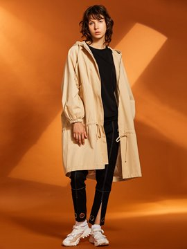 Ericdress Loose Plain Drawstring Hooded Women's Overcoat