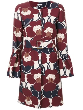 Ericdress Floral Belt Mid-Length Flare Sleeve Coat