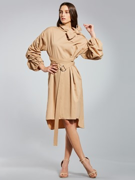Puff Sleeve Bowknot Plain Women's Day Dress