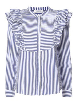 Ericdress Stand Collar Stripe Ruffles Shirt
