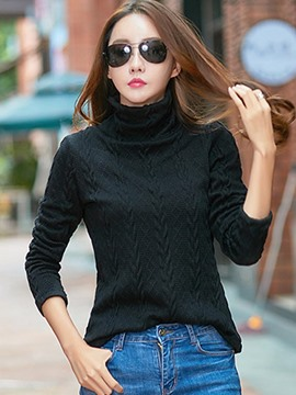Ericdress Plain High Neck Slim Sweater
