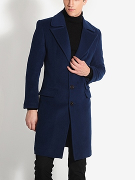 Ericdress Notched Lapel Slim Men's Woolen Coat