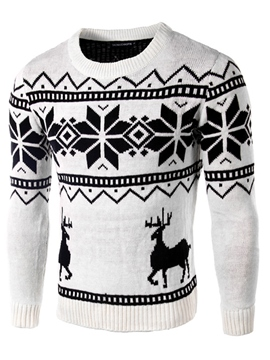 Ericdress Round Neck Print Slim Pullover Men's Sweater