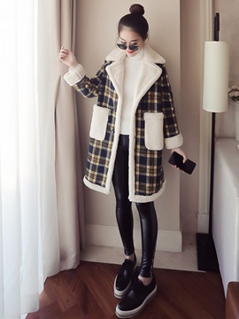 Ericdress Notched Lapel Mid-Length Loose Plaid Coat