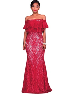 Ericdress Off-the-Shoulder Mermaid Lace Maxi Dress