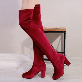Ericdress Plain Back Zip Chunky Heel Over-the-Knee Boots