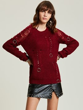 Ericdress Round Neck Hole Mottled Pullover Women's Sweater