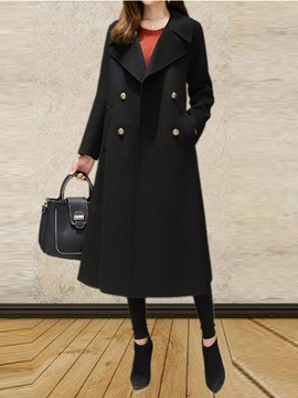 Ericdress Notched Lapel Long Double-Breasted Coat
