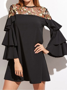 Ericdress Mesh Embroidery Ruffle Sleeve A Line Dress