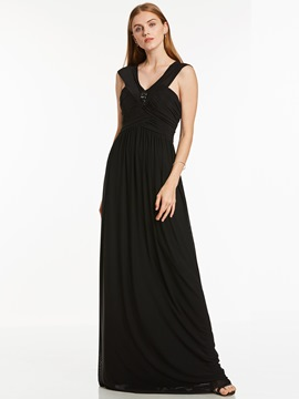 A-line v-neck ruched crystal short sleeves floor-length robe de soirée
