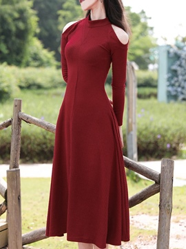 Ericdress Stand Collar Cold Shoulder Long Sleeve Sweater Dress