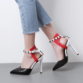 Ericdress Rivet Color Block Pointed Toe Stiletto Sandals