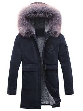 Ericdress Fur Collar Flocking Warm Men's Winter Coat