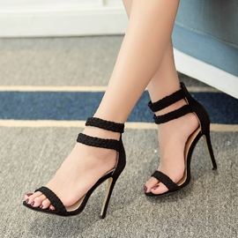 Ericdress Plain Zipper Open Toe Stiletto Sandals