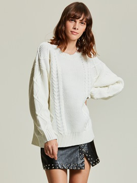 Ericdress Loose Jacquard Weave Pullover Sweater