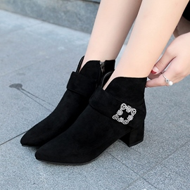 Ericdress Rhinestone Plain Women's Ankle Boots