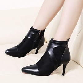 Ericdress Plain Pointed Toe Patchwork High Heel Boots