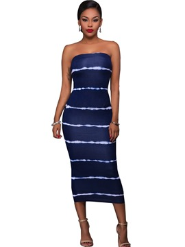 Ericdress Stripe Tie-Dye Strapless Mid-Calf Sheath Dress