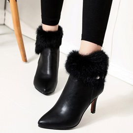 Ericdress Fuzzy Patchwork Plain High Heel Boots