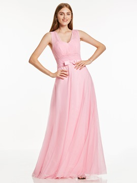Ericdress A Line V Neck Pleats Floor Length Long Evening Dress