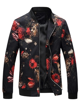 Ericdress Slim Stand Collar Print Men's Jacket