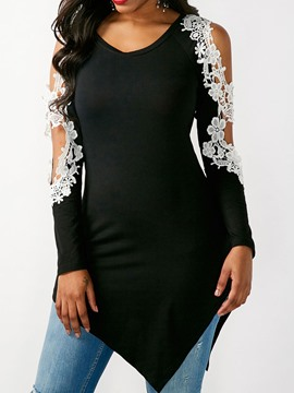 Ericdress Slim Lace V-Neck Hollow Blouse