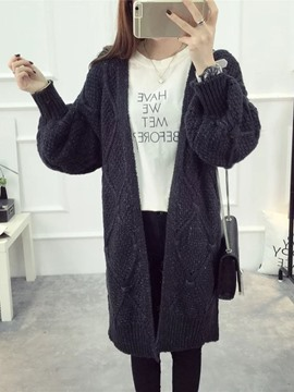 Ericdress Loose Long Chunky Knit Cardigan Sweater