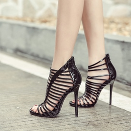 Ericdress Plain Hollow Zipper Open Toe Stiletto Sandals