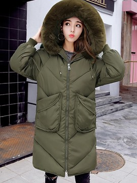 Ericdress Plain Zipper Loose Hooded Coat