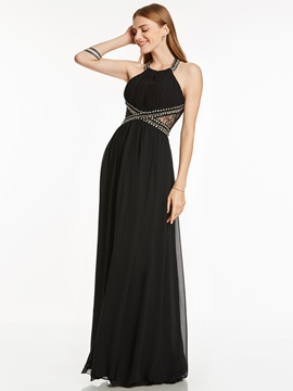Ericdress A Line Halter Neck Beaded Pleats Evening Dress