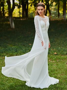 Ericdress Scoop Mermaid Long Sleeves Wedding Dress