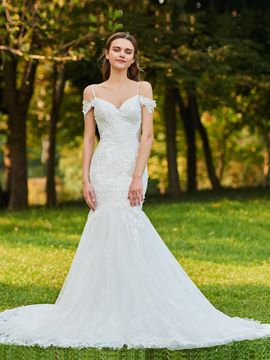 Ericdress Spaghetti Straps Mermaid Tulle Wedding Dress