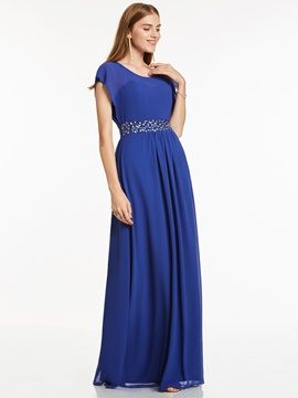 Ericdress Scoop Neck Cap Sleeves Beaded A Line Evening Dress