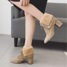 Ericdress Fuzzy Front Zipper Plain Chunky Heel Ankle Boots