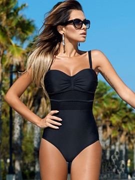 bloque de color ericdress plisado monokini patchwork