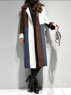 Ericdress Lapel Long Color Block Coat