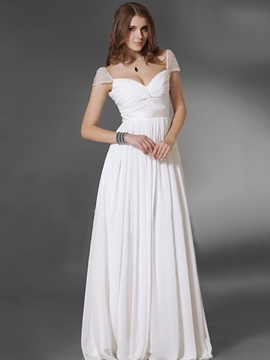 Ericdress Cap Sleeve Floor Length Pleated Maxi Dress
