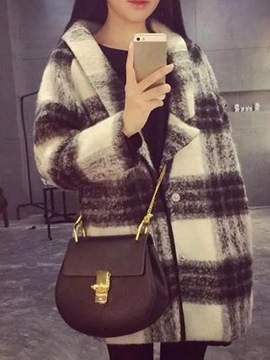 Ericdress Lapel Mid-Length Plaid Loose Coat