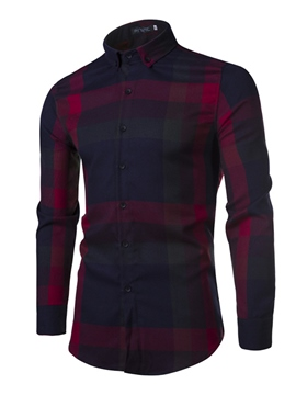 Ericdress Color Block Plaid Sanding Casual Men's Shirt