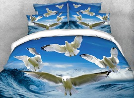 Vivilinen 3D Seagulls Flying over Rushing Water Cotton 4-Piece Bedding Sets/Duvet Covers