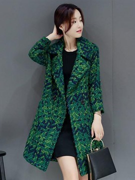Ericdress Notched Lapel Mid-Length Houndstooth Coat