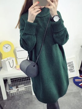 Ericdress Plain Turtleneck Mid-LengthSweater