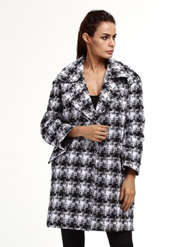 Ericdress Houndstooth Plus-Size Mid-Length Coat