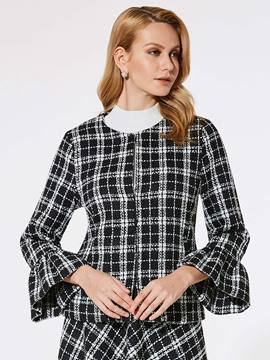 Ericdress Slim Plaid Flare Sleeve Jacket