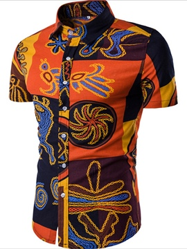 Ericdress African Style Print Short Sleeve Casual Men's Shirt